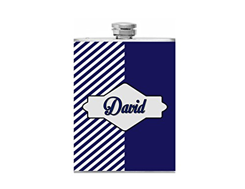 - Personalized Navy Blue Stripe & Solid Bridal Party Groomsmen Flask with Funnel Stainless Steel 8 oz Liquor Hip Flasks - Flask #184