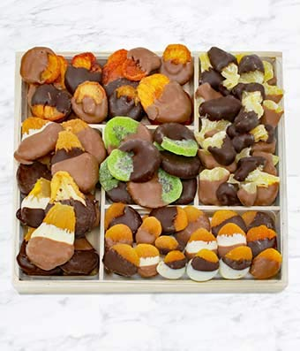Gifts - Grand Belgian Chocolate Dipped Dried Fruit Tray