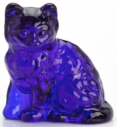 (Fluffy Solid Glass Sitting Cat - Mosser USA (Cobalt Blue))