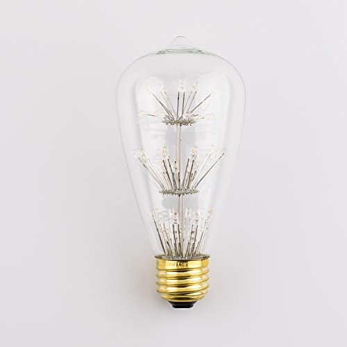 Vintage Starry Edison Led Light Bulb, Coidak Antique Decorative Squirrel cage Led Light Bulb E26 ST64 1.5W 2400K Warm White, Not - Shade Light Yellow Glass