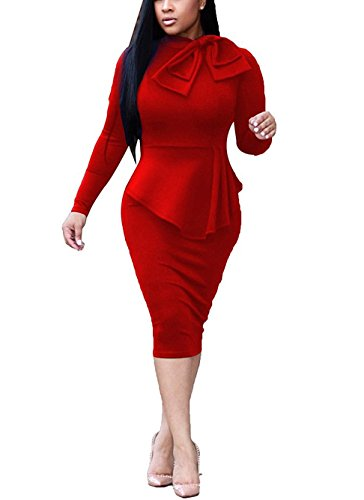 Dreamparis Womens Business Dress One Piece Suit Long Sleeve Tie Neck Peplum Top Bodycon Skirt Office Ladies Red L (Red Dress Suit)