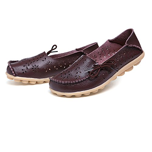 Oriskey Womens Summer Hollow Out Carving Leather Casual Loafers Flat Boat Shoes Driving Sandals Coffee QmlIDYGHIa