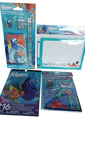 Finding Dory Kids Activity Bundle of Four (4) Items includes Dry Erase Board, Sticker Book, Journal And Stationary Set