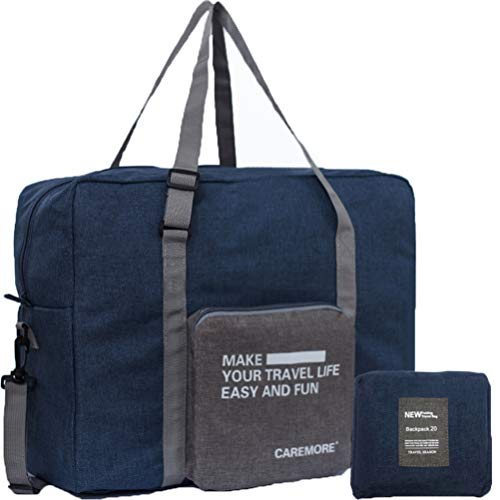 Spirit Airline Personal Item Carry-on Bag Unisex's Lightweight Fodable Duffel Travel Luggage Bag 18 X 14 X 8 inches(Blue with strap)