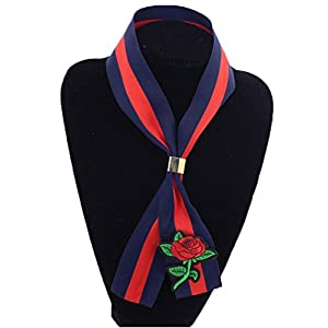 ALAIX Chic Embroidery Skinny Scarf Tie Chocker Neckerchief for Women