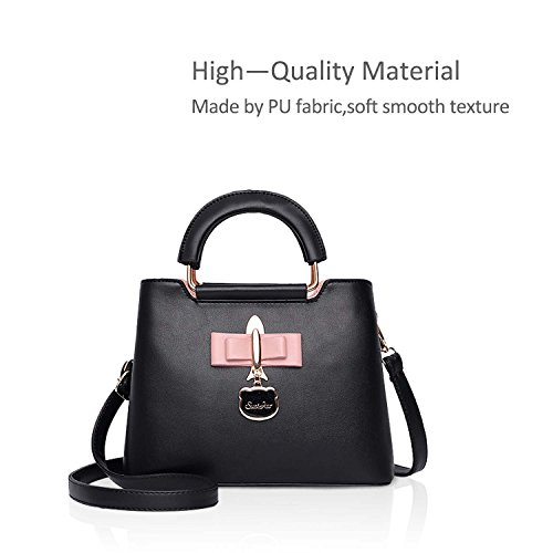 2018 Bag NICOLE Casual New Fashoin Girls amp;DORIS for PU Women Black Tote Bag Crossbody Shoulder Hardware Handbag Bag Pendant Black 5BBvgwq