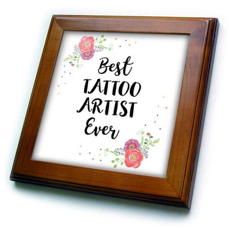 3dRose InspirationzStore - Love Series - Floral Best Tattoo Artist Ever Watercolor Pink Flowers Tattooist Gift - 8x8 Framed Tile (ft_317290_1) (Framed Tattoo Tile)