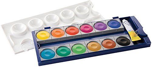 Pelikan Opaque Watercolor Paint Set, 12 Colors Plus Chinese White Tube (DIN 5023)