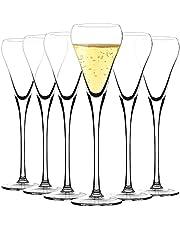 Amisglass Champagneflöjter uppsättning av 6, blyfritt klart kristallglas, kristallklar klarhet, klassisk och sömlös torndesign, kvalitetsminskande vin stamware set