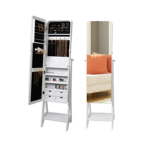 KEDLAN Jewelry Cabinet White Standing LED Mirrored Large Capacity Organizer in Living Room (White Mirrored Jewelry Armoire)