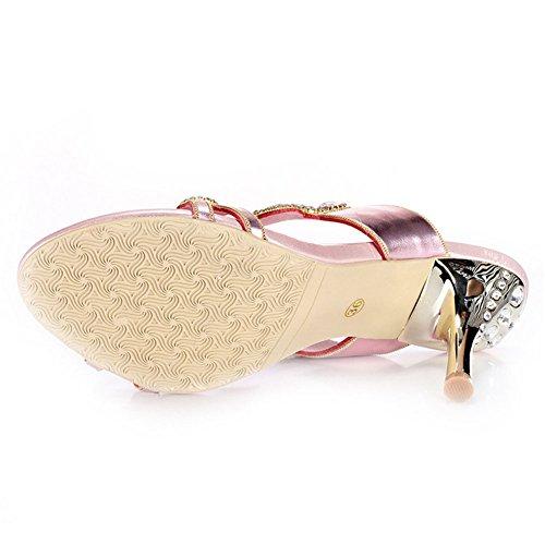 de Alto Sandalias Huecos de Diamantes Tacón Redondos SASA Gruesas con Mujer Verano de Nuevas Sandalias Diamantes de Zapatos de Imitación vYd6qw1