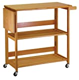 Island Countertop Winsome Wood Foldable Kitchen Cart with Knife Block, Light Oak