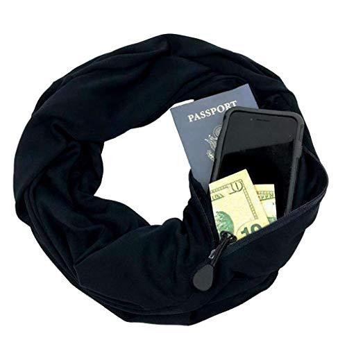 Couleur Acmede Noir Homme Pour Écharpe Zippée Cachée Avec Femme Poche Infinity Unie Et rrwYCq