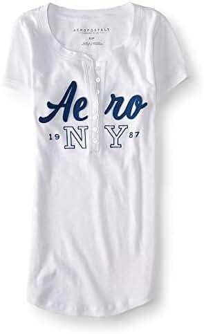 Aeropostale Women's Aero Ny 1987 Ribbed Henley Shirt