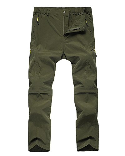 Asfixiado Kids Girls' Convertible Athletic Hiking Cargo Pants,Youth Outdoor Quick Dry Waterproof Camping Fishing Trail Zip Off Trousers #9017 Army Green-XS