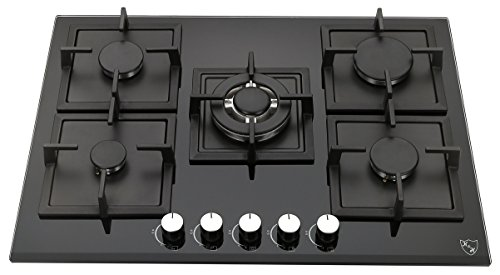 K&H 5 Burner 30″ NATURAL Gas Glass Cooktop 5-GCW