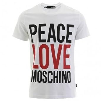 1db0c82124f Love Moschino Peace Love Moschino T-Shirt White M: Amazon.co.uk: Clothing