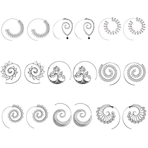 9 Pairs Silver Bohemian Vintage Tribal Swirl Spiral Statement Hoop Earrings Set For Tweens Women (silver) ()