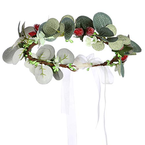 Folora Adjustable Flower Headband Hair Wreath Floral Garland Crown Headpiece with Ribbon for Wedding Ceremony Party Festival (190711N)
