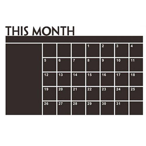 BLagenertJ Multifunctional Eco-Friendly Wall Sticker with Month Calendar Blackboard Design for Room Home Decor ()