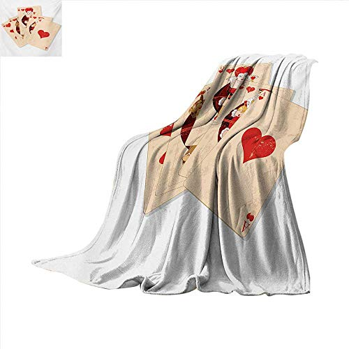 Alice in Wonderland Throw Blanket Crown Gambler Queen Hearts Royal Fairy Flush Face Magic Theme Velvet Plush Throw Blanket 60 x 60 inch Brown Red and Ecru -