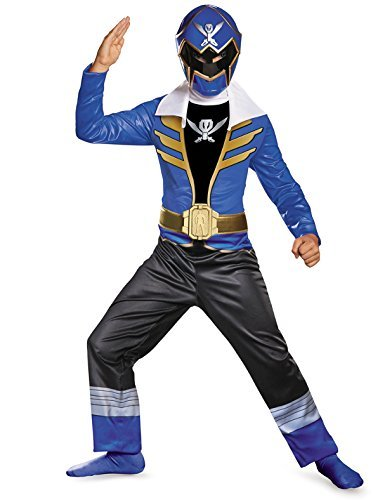 [Disguise Saban Super MegaForce Power Rangers Blue Ranger Classic Boys Costume, Large/10-12] (Power Rangers Megaforce Halloween)