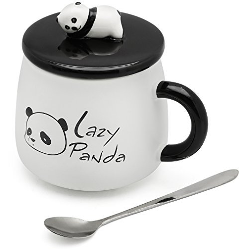 EPFamily Cute White 3D Panda Mug Funny Porcelain Coffee Mugs Set Small Ceramic Tea Cups Black with Lid and Spoon Gifts for Women Men Mom Grandma 14 Oz by EPFamily (Image #2)