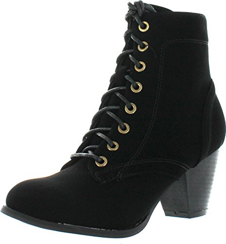- Top Moda Women's Scan-4 Cuban Heel Mid-Height Lace up Ankle Boot,Black,9
