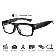 Video Glasses - HD Camera Glasses with 32GB Memory Card - Eye Glasses with Camera - Wearable Camera
