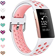 Sport Bands Compatible with Fitbit Charge 4 / Charge 3 / Charge 3 SE Soft Silicone Replacement Watch Strap Wri