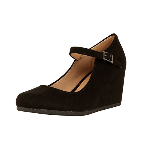 Black Women Wedge - Guilty Shoes Womens Classic Mary Jane - Comfort Round Toe Buckle Low Heel Wedge Pumps-Shoes, Black Suede, 8