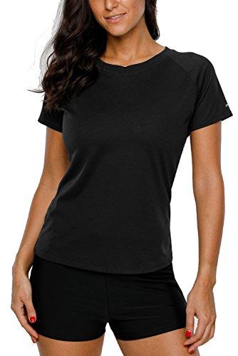Vegatos Women Short Sleeve Rashguard Shirt Active Bathing Suit Top Swim Tee L