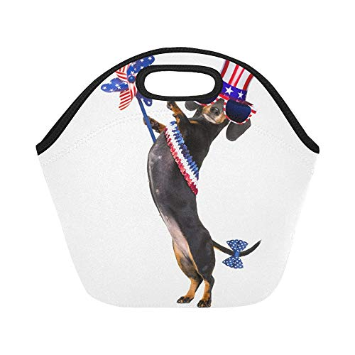 Insulated Neoprene Lunch Bag Dachshund Sausage Dog Waving Flag Usa Large Size Reusable Thermal Thick Lunch Tote Bags For Lunch Boxes For Outdoors,work, Office, School