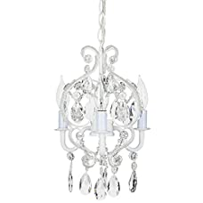 """'Tiffany Collection' Mini Crystal Swag Chandelier Lighting with 3 Lights, Nursery Kids Children Room, W8.5"""" X H10.5"""""""
