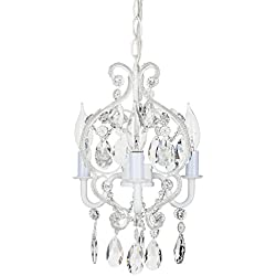 "'Tiffany Collection' Mini Crystal Swag Chandelier Lighting with 3 Lights, Nursery Kids Children Room, W8.5"" X H10.5"""
