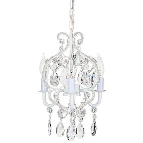 'Tiffany Collection' Mini Crystal Swag Chandelier Lighting with 3 Lights, Nursery Kids Children Room, W8.5