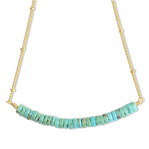 Mint Jules Turquoise Bead Bar Necklace With 14k Gold Overlay (Bars Overlay)