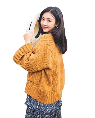 JIANGWEI ニット カーディガン レディース ゆったり 編み 春秋 セーター コート 可愛い 学生 きれいめ