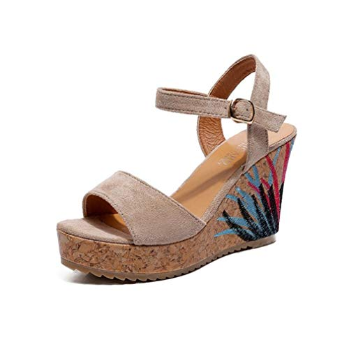 (MEIZOKEN Womens Cork Wedges Sandals Ladies Bohemian Open Toe Shoes Ankle Buckle Strap Platform Sandals Beige)