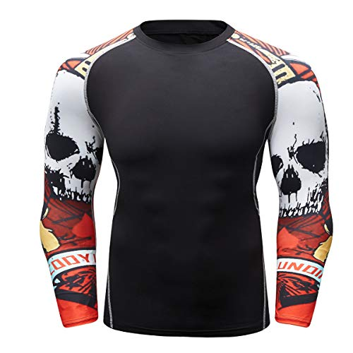 Fanii Quare Men's Soft Fit Long Sleeve Workout Rashguard Cool Dry Compression Fitness Shirt Red Skull -