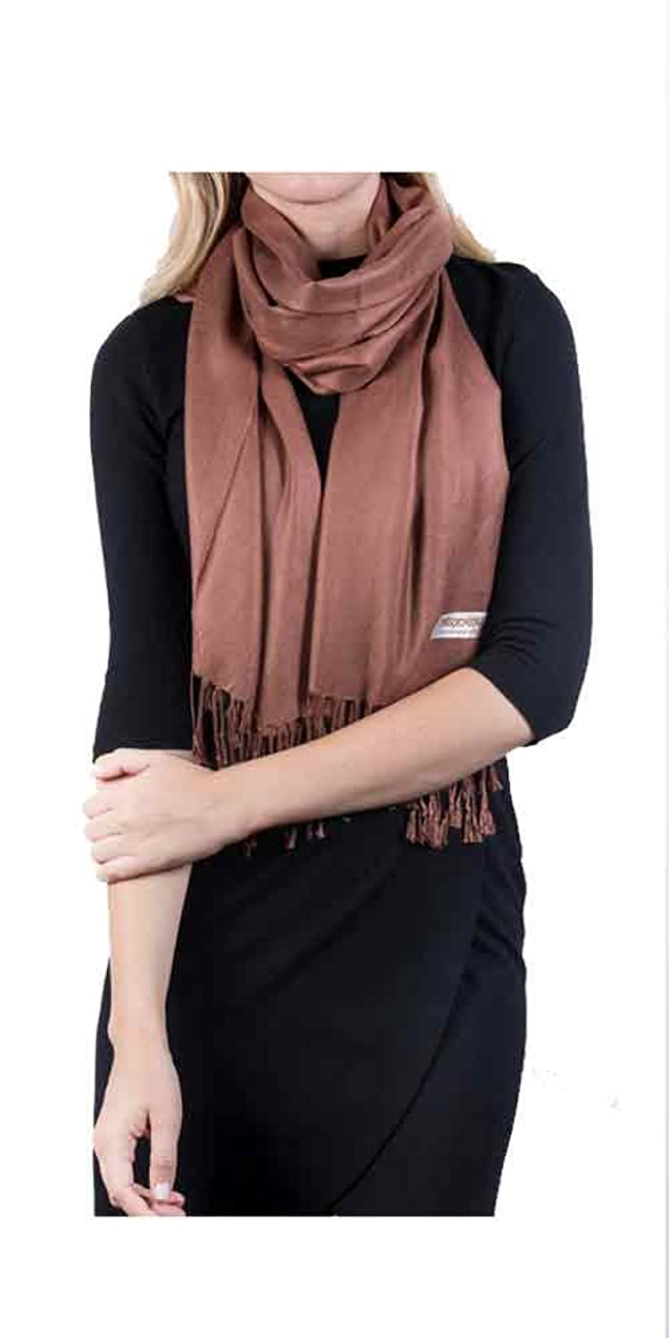 Jools & Eko Womens Solid Silky Pashmina Label Scarves & Wraps in Brown Copper