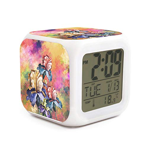Rkouquhuaqi Purple Watercolor Iris Flower Filled Oil Painting Alarm Clock 7 LED Color Changing Wake Up Bedroom with Data and Temperature Display