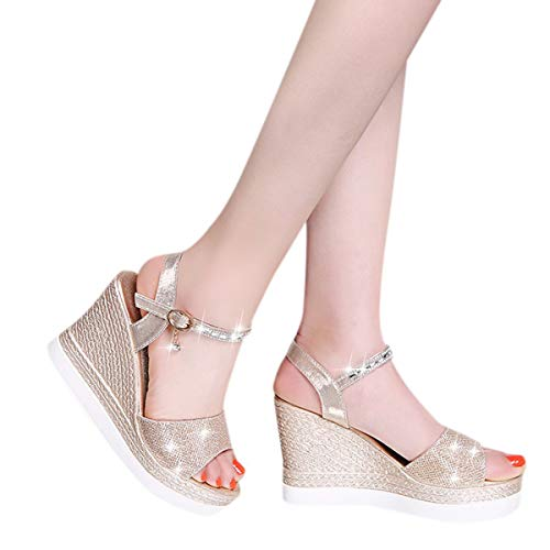 Women's Hi-Lo High Heel Platform Pump Sandals Ankle Strap Chunky Block Heels Open Toe Heeled Sandal (Gold, 7)