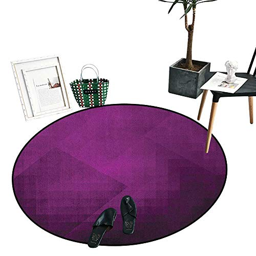 """Eggplant Bathroom Round Area Rug Carpet Abstract Purple Squares in Faded Color Scheme with Modern Art Inspired Style Pixelart Perfect for Any Room, Floor Carpet (47"""" Diameter) Purple"""