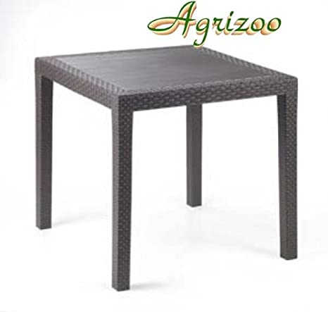 Tavolino Rattan Da Giardino.Tavolo Da Giardino King In Polipropilene Effetto Rattan Cm 80x80x72h
