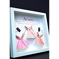 Personalized Name Origin and Meaning Baby Gift Paper Origami Dresses Shadowbox Frame Custom Newborn Baby Shower Gift