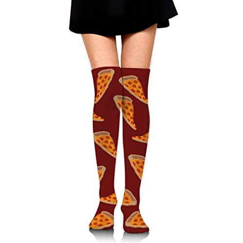 GERSWEET Women Lady Girl Delicious Pizza Knee High Fashion Comfortable Boots Socks Cotton Athletic Over The Knee Tube Socks Thigh High Stockings for Great Gifts