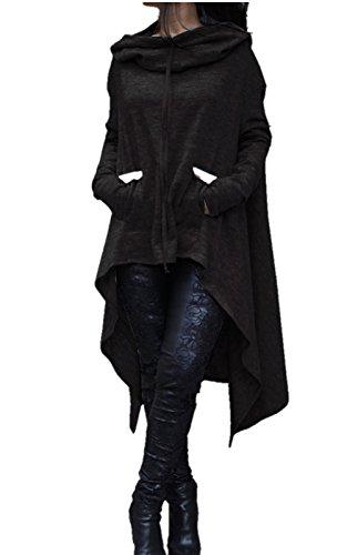JOY DRAGON Women's Fashion Pure Color Irregular Loose Long Hoodie, Fleece Knitwear Outerwear Coat Dress(10colors)(S-5XL) (m, black)