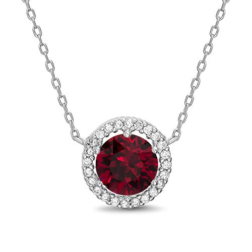 (Devin Rose Round Halo Pendant on 18