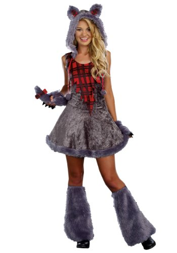 Little Girl Wolf Costume (Sugar Sugar Juniors Full Moon Sass, Grey,)